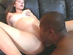 Pregnant babe loves chocolate cock