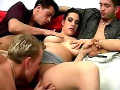 Three guys serve hot pregnant girl